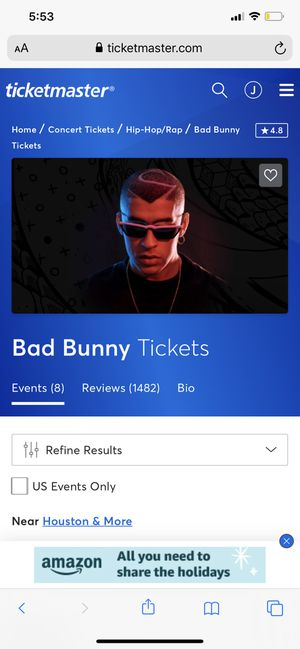 2 Bad Bunny tickets Floor C close to the stage for Sale in Houston, TX