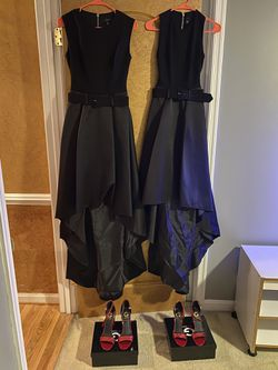 Two Formal Attire Black Satin Gowns and Red Bling GUESS Heels. for Sale in Fort Washington,  MD