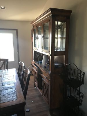 Kitchen set. Table, hutch, bar stools and a free sofa for Sale in Ellendale, MN