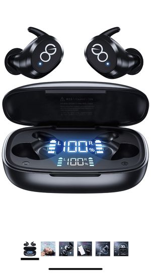 Wireless Earbuds-Bluetooth 5.1 Headphones IPX8 Waterproof with Wireless Charging Case,Premium Deep Bass Earphones in Ear Earpods with Smart LED Displ for Sale in Brooklyn, NY