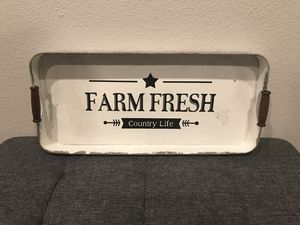 Galvanized metal Kitchen Tray with wooden handles for Sale in Yorba Linda, CA