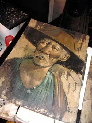Vintage oil painting on tobacco leaves for Sale in Austin, TX