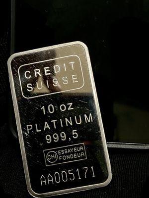 Credit Suisse 10 oz 999.5 Platinum Bar for Sale in Seattle, WA
