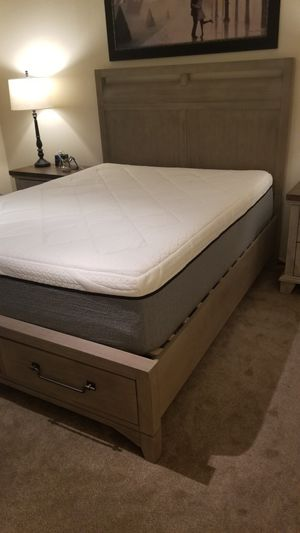 Queen bed frame with drawers - gray used for only 2 months only for Sale in El Cajon, CA
