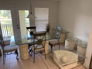 Full Stone and Glass Kitchen and Dining Room Table Set With 2 Stone Vases and 2 Side Tables for Sale in Tampa, FL