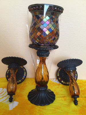 2 wall sconces and matching candle holder for Sale in Tampa, FL