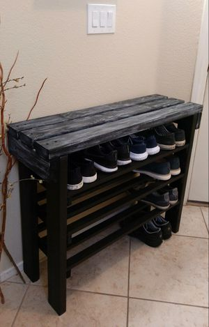 "30""H X 36""W X 12""D (3 Planks) 🍁2 X 4 Sturdy Wood Entry Console with Shoe Shelves (12 - 16 Shoes) ::: Rustic Distressed Black/Silver Drop for Sale in Las Vegas, NV"