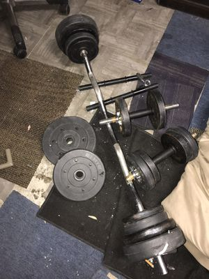 Dumbbells and curl bar for Sale in Las Vegas, NV