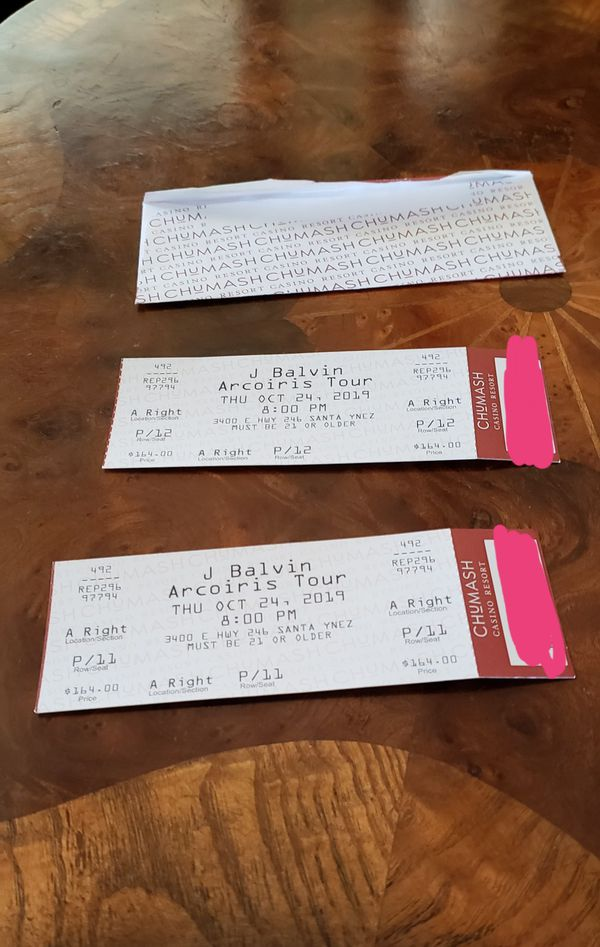 2 J Balvin Tickets for sale.. Concert will be at Chumash Casino October 24