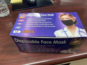 Disposable FACE MASKS - Pack of 50 - Black for Sale in Paterson, NJ