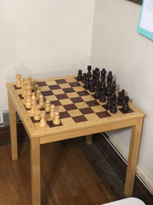 Wood chess table set and pieces for Sale in Buffalo, NY