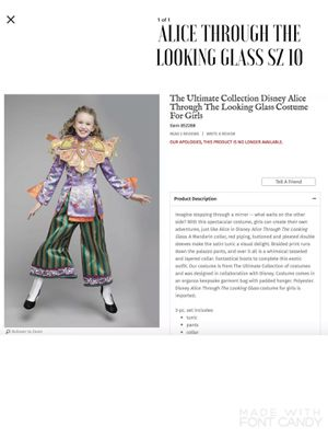 NEW Chasing Fireflies The Ultímate Collection Disney Alice Through the Looking Glass Halloween Costume for Girls SZ 10 for Sale in Arlington, VA