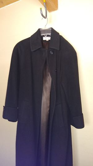 $800 Women's small/6, Cashmere wool long winter pea coat trench down parka, black, albert nipon Nordstrom, full length, for Sale in San Diego, CA