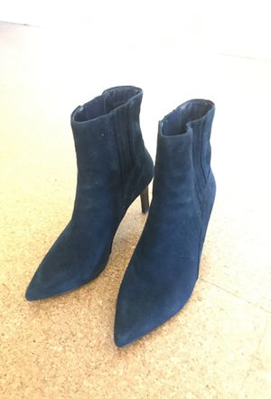 Navy suede effect stiletto ankle boots size 10 for Sale in Portland, OR