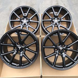 "18"" oem Tesla Model 3 factory wheels 18 inch semi gloss black rims Tesla 3 for Sale in Tustin, CA"
