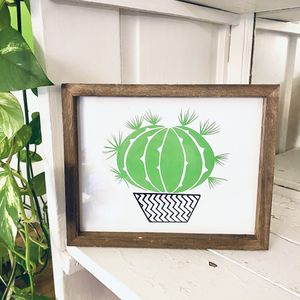 Cactus Succulent Plant Wooden Framed Print Art for Sale in Bartlett, IL