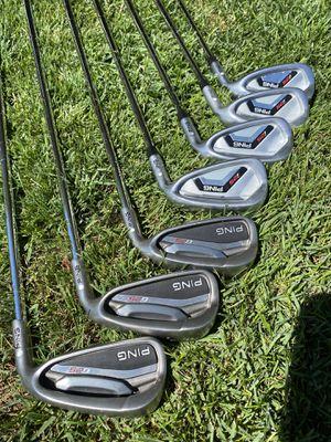 Matching numbers custom split set Ping I-25 G-25 White Dot Stiff flex Irons! for Sale in Kennewick, WA