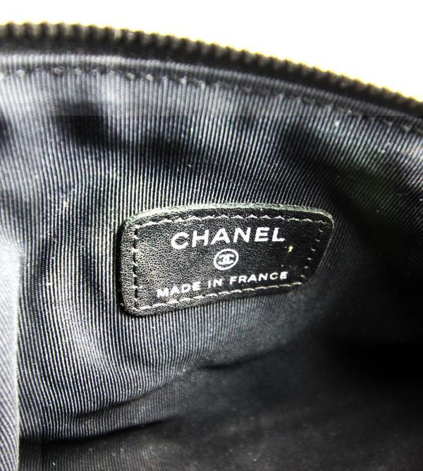 CHANEL Black Lambskin Quilted Cosmetic ***Bag Authenticity Code:12474506***