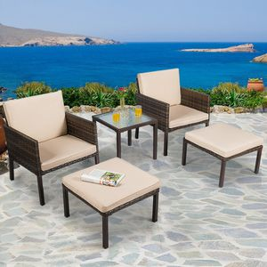 5 Pcs Rattan Patio Ottoman Cushioned Furniture Set Outdoor Decor for Sale in Los Angeles, CA