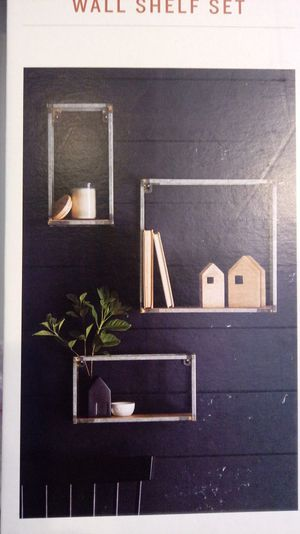 3 wall shelves hearth and hand shelf wood and metal for Sale in Grand Terrace, CA