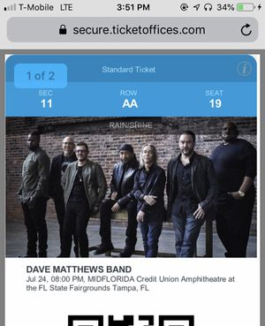 2 DMB Dave Matthews tickets. Midflorida Amp on 7/24/19. for Sale in Tampa, FL