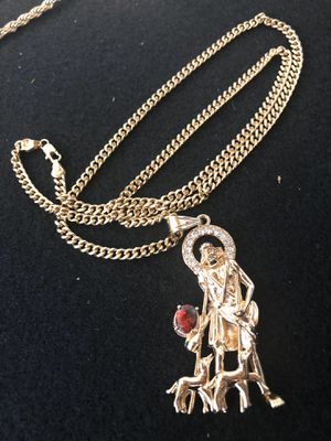 "18kmgl (gold-filled not plated or stainless ) Lazarus pendant with 5mm 28"" cuban link chain , includes warranty for Sale in Tampa, FL"
