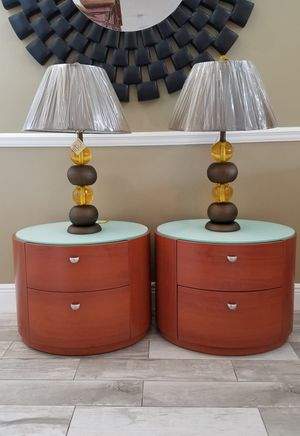 "BRAND NEW...NEVER USED. modern cherry wood oval 2 drawer nightstand / end tables with white glass top with new lamps H=19"" d=19"" w=24"" for Sale in Boca Raton, FL"