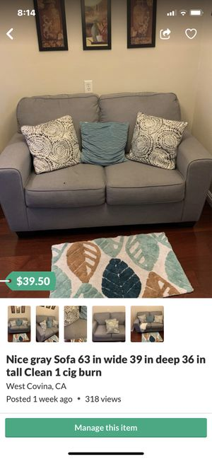 Nice newer Gray Sofa compact . 63in Wide, 39in Deep, 36Tall for Sale in West Covina, CA