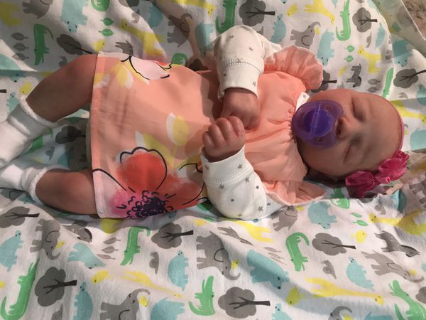 baby reborn super realistic full arms and legs weighted to feel like a real baby weight 5 pounds comes with birth certificate and barias clothing