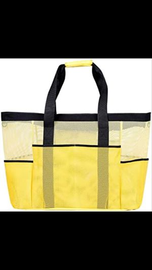 Delebao Beach Tote Bags Multi-pocket Mesh Beach Bag Tote Large Womens Handbags Extra Heavy Duty with Zipper Yellow XXL for Sale in Mesquite, TX