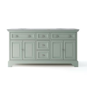 Home Decorators Collection Sadie 67 in. W x 21.5 in. D Vanity in Antique Light Cyan with Marble Vanity Top in Natural White with White Sinks for Sale in Melrose Park, IL