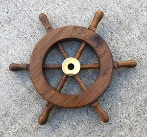 """*NEW* Qty 2 - 6.5"""" Nautical Wooden Ships Wheels with Brass Hub, 2 for $10, 4 for $18, 6 for $24 for Sale in Chula Vista, CA"""