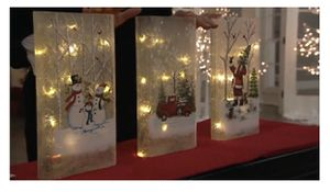 """Illuminated 12.5"""" Slim Glass Accent with Scene by Valerie Christmas for Sale in Pompano Beach, FL"""