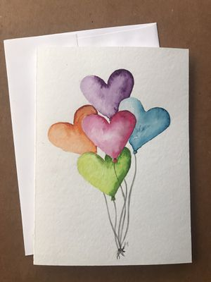 Watercolor heart balloon card for Sale in Los Angeles, CA