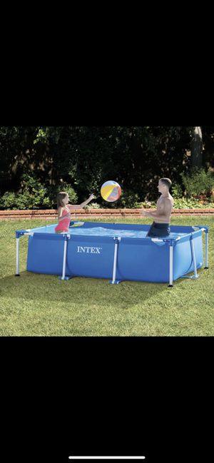 Intex 8.5ft x 26in Rectangular Frame Above Ground Backyard Swimming Pool, Blue for Sale in Chicago, IL