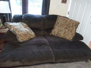 Furniture couch loveseat and chair all reclines co l or brown smoke free home for Sale in Martinsburg, WV