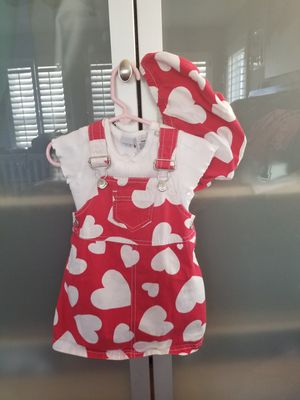 Gymboree 3pc Girls Valentine Love Hearts Overall Dress + Bloomers and white body suit 12-18 months for Sale in San Ramon, CA