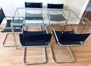 Mid Mod Glass Dining Set (seats 6) for Sale in Denver, CO