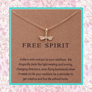 """NEW GOLD DRAGONFLY MESSAGE CARD NECKLACE FREE SPIRIT 18"""" ADJUSTABLE CHAIN BUTTERFLY GIFT PRESENT for Sale in Las Vegas, NV"""
