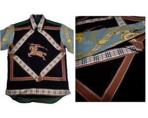Burberry Black Silk Printed Shirt for Sale in Pittsburgh, PA