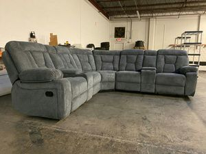 Grey fabric u-shape reclining theatre sectional w/cup holders for Sale in Marietta, GA