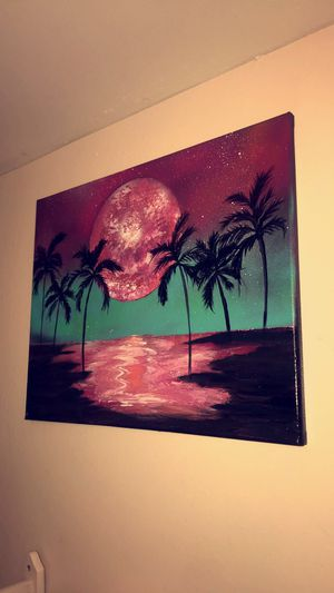 Sunset with Palm trees Canvas 16x20 for Sale in Sunrise, FL