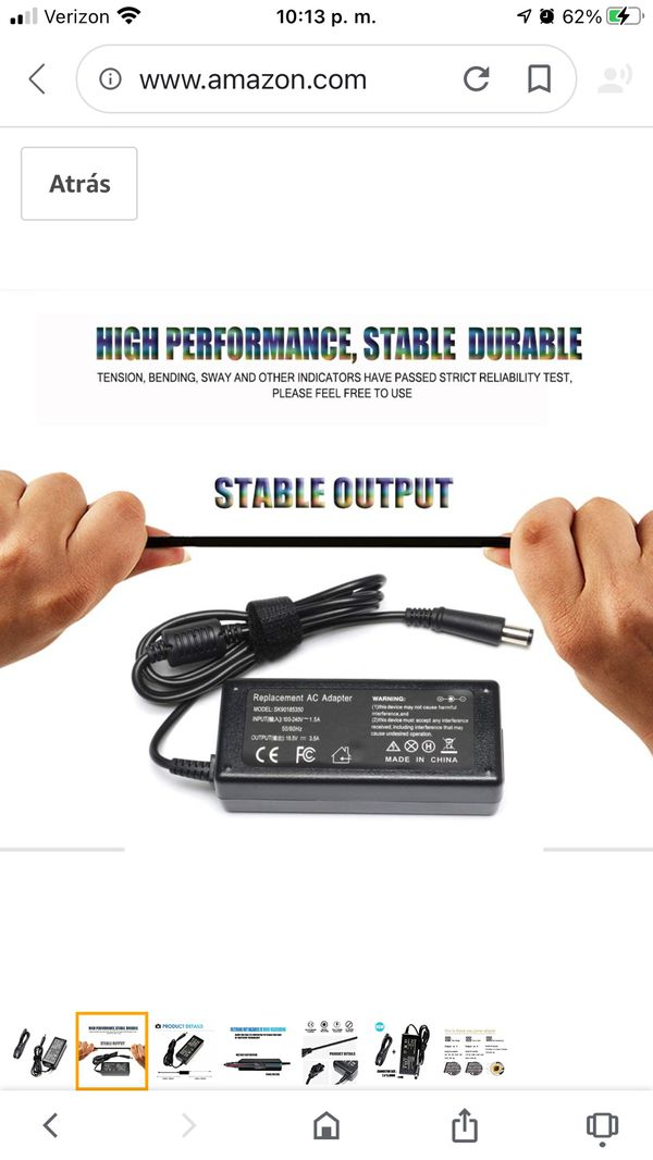 AC Adapter Charger for HP Pavilion G6 G7 DV6 DV5 DV4 G72 G71 G60 G61 G62 DM4 HP 2000-2B09WM 2000-2A20NR Notebook PC 65W 18.5V 3.5A Power Supply Cord