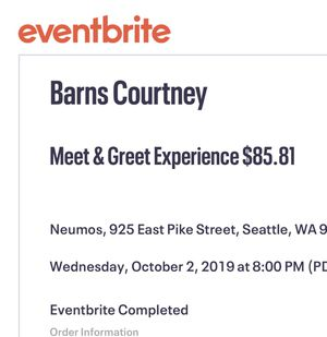 2 VIP Meet & Greet Tickets to Barnes Courtney at Neumos Seattle on 10/2/19! for Sale in Tacoma, WA