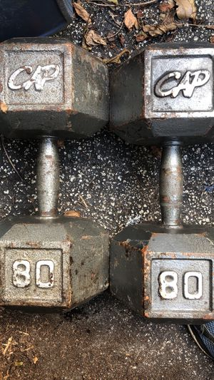 80 LB. PAIR OF CAP DUMBBELLS (THICK IN THE MIDDLE/CONTOURE S TO THE HAND) PREFERRED STYLE FOR CURLING HEAVY IRON) for Sale in Deerfield Beach, FL