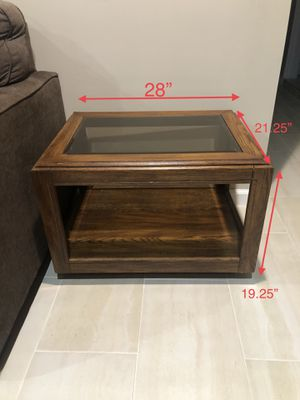 Natural solid wood coffee table/side table with glass top for Sale in Los Angeles, CA