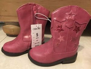 Brand new Cherokee baby girls size 5 pink leather cowgirl boots for Sale in Plantation, FL
