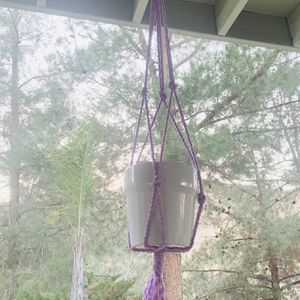 Macrame hanging plant pot holder Garden purple multicolor indoor outdoor for Sale in Riverside, CA