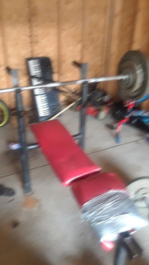 Weight bench weight standard weight bar bench press bar dumbbells 45 curl bar for Sale in Detroit, MI