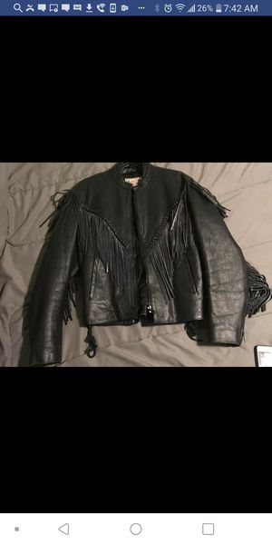 Ladies Fringe Leather Motorcycle Jacket- A Biker Queens Dream for Sale in Fort Washington, MD